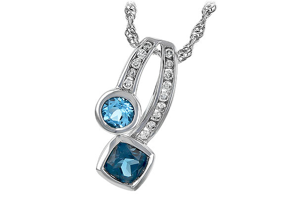 F216-63625: NECKLACE .91 TW BLUE TOPAZ 1.04 TGW